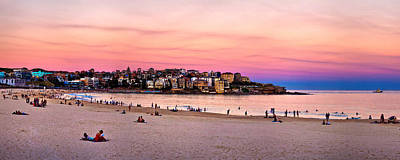 Swimmers Photograph - Winter Sunset Over Bondi by Az Jackson