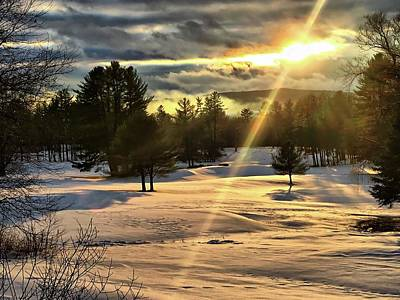 Photograph -  Winter Sunset Rays  by Betty Pauwels