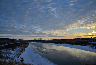 Photograph - Winter Sunset Reflected In Frozen Nippersink Creek by Ray Mathis