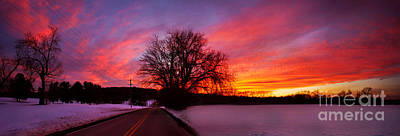Photograph - Winter Sunset Panorama by Rima Biswas
