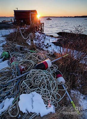 Photograph - Winter Sunset, South Harpswell, Maine  -3061197 by John Bald