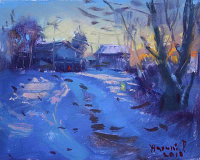 Winter Sunset Wall Art - Painting - Winter Sunset by Ylli Haruni