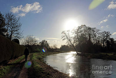 Photograph - Winter Sunshine On The River Wey At Send Surrey by Julia Gavin