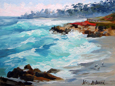Landscape Painting - Winter Surf, 17 Mile Drive Carmel by Karin Leonard