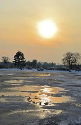 Digital Art - Winter Thaw Sunset  by Lyle Crump
