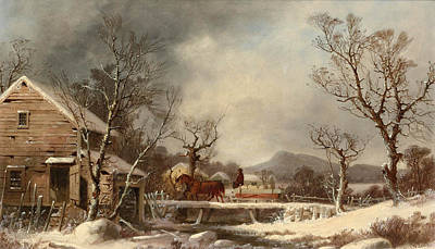Painting - Winter. The Old Mill by George Henry Durrie