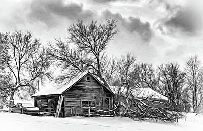 Winter Thoughts 2 - Bw Art Print by Steve Harrington