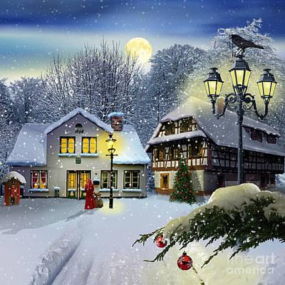 Snowfall Mixed Media - Winter Time ... Christmas Time by Monika Juengling