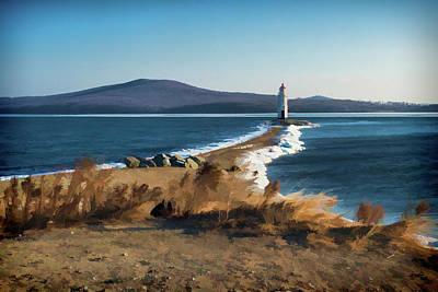 White House Mixed Media - Winter Tokarevsky Lighthouse  by Mariia Kalinichenko