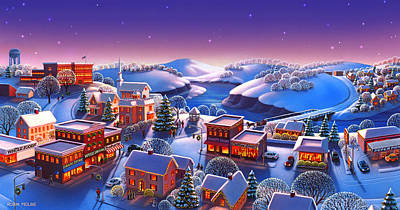 Winter Night Painting - Winter Town by Robin Moline