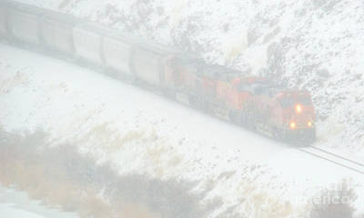 Freight Train Photograph - Winter Train by Mike Dawson
