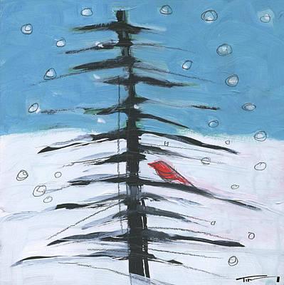 Pine Barrens Painting - Winter Tree Bird 1 by Tim Nyberg