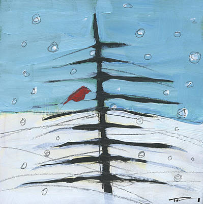 Painting - Winter Tree Bird 2 by Tim Nyberg