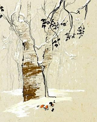 Digital Art - Winter  Tree by Debbi Saccomanno Chan