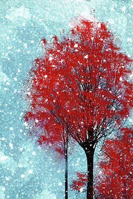 Digital Art - Winter Tree Wall Art by Georgiana Romanovna
