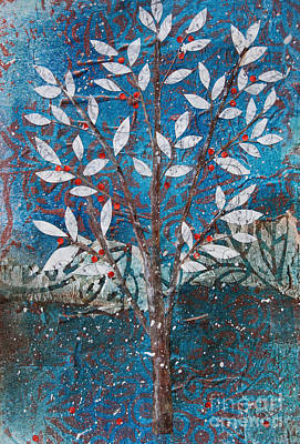 Mixed Media - Winter Tree With Red Berries by Janyce Boynton