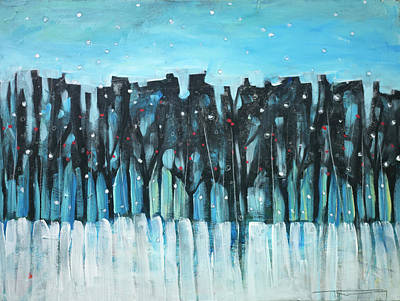 Painting - Winter Treeline With Berries by Tim Nyberg