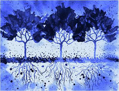 Mixed Media - Winter Trees 2 by Lilia D