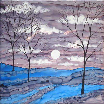 Painting - Winter Trees And Moon Landscape by Laurie Anderson