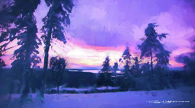Digital Art - Winter Trees And Sunset by Roger Lighterness