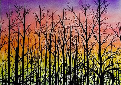 Painting - Winter Trees At Sunset by Ellen Canfield