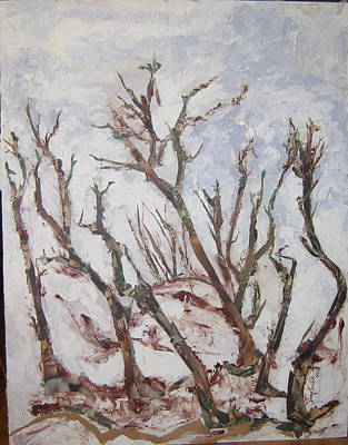 Winter Trees Art Print by Helene  Champaloux-Saraswati
