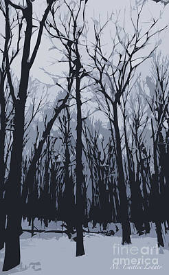 Printmaking Mixed Media - Winter Trees In Gray by Caitlin Lodato
