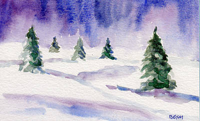 Painting - Winter Trees In Green by Clara Sue Beym