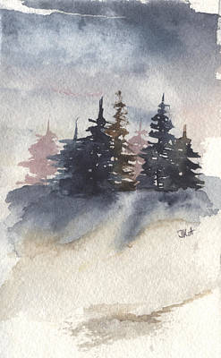 Painting - Winter Trees In Pink by Jan Anderson