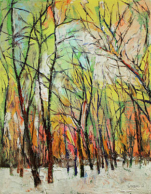 Wintertime Painting - Winter Trees by Michael Creese