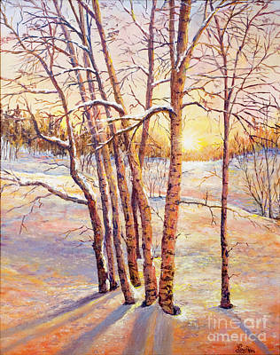 Painting - Winter Trees Sunrise by Lou Ann Bagnall