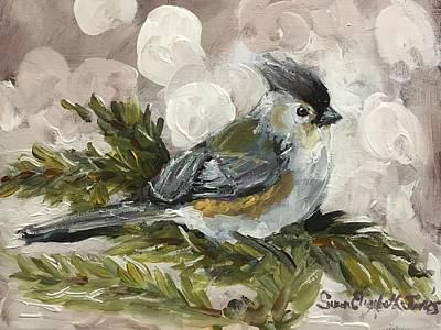 Painting - Winter Tufted Titmouse by Susan Elizabeth Jones