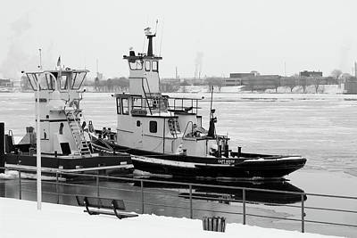 Photograph - Winter Tugs Bw by Mary Bedy