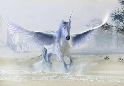 Digital Art - Winter Unicorn by Al G Smith