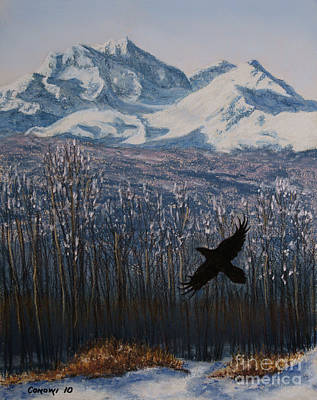 Art Print featuring the painting Winter Valley Raven by Stanza Widen