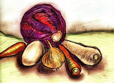 Onion Mixed Media - Winter Vegetables  by Joely  Rogers