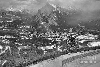 Photograph - Winter Views From Mt. Norquay Black And White by Adam Jewell