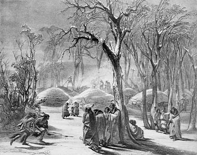 Painting - Winter Village Of The Manitaries - Native American Vintage Art by Karl Bodmer