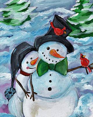 Black Tie Painting - Winter Visitors by Anne Seay