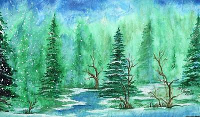 Pinetree Painting - Winter Walk A  by Mikel Zuiderveen