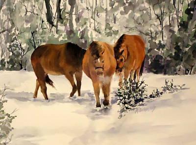 Winter Walk Art Print by Andrea Birdsey Kelly