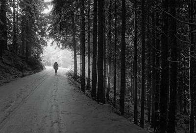 Road Photograph - Winter Walk - Austria by Mountain Dreams