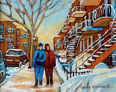 Montreal Buildings Painting - Winter Walk In Montreal by Carole Spandau