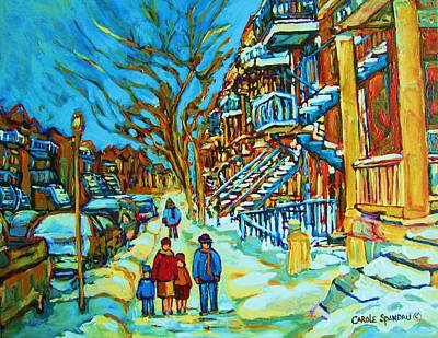 Quebec Streets Painting - Winter  Walk In The City by Carole Spandau