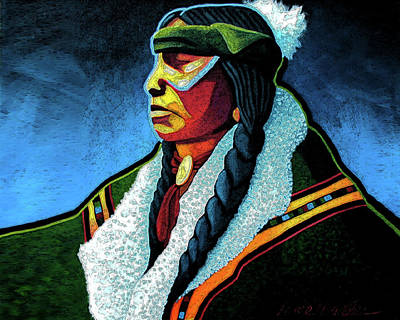 Native American Painting - Winter Warrior by Lance Headlee
