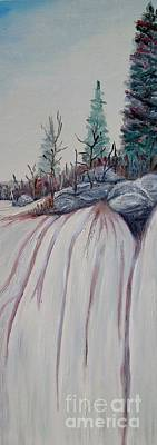 Tree Roots Painting - Winter Waterfall by Marilyn  McNish