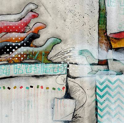 Repeat Mixed Media - Winter Weasels  by Laura Lein-Svencner