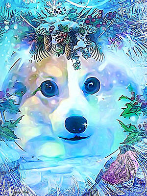 Art Print featuring the digital art Winter Welsh Corgi by Kathy Kelly