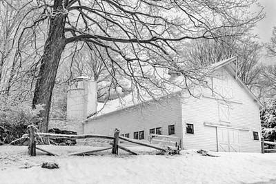 Farm Scene Photograph - Winter White  Bw by Bill Wakeley
