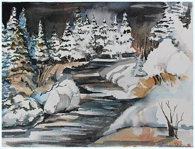 Fir Trees Drawing - Winter White by Mindy Newman